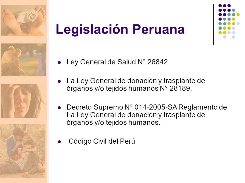 Legislación Peruana Ley General de Salud N° 26842 La Ley General de donación y trasplante de órganos y/o tejidos humanos N° 28189. Decreto Supremo N°