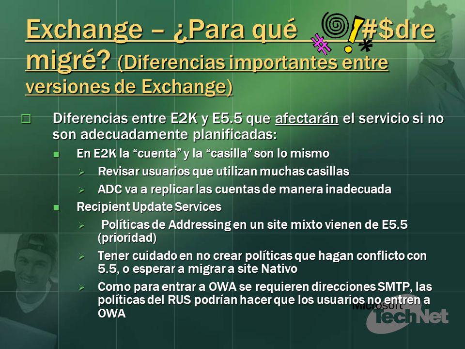 Exchange – ¿Para qué #$dre migré? (Diferencias importantes entre versiones de Exchange) Diferencias entre E2K y E5.5 que afectarán el servicio si no s