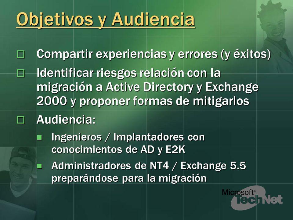 Objetivos y Audiencia Compartir experiencias y errores (y éxitos) Compartir experiencias y errores (y éxitos) Identificar riesgos relación con la migr