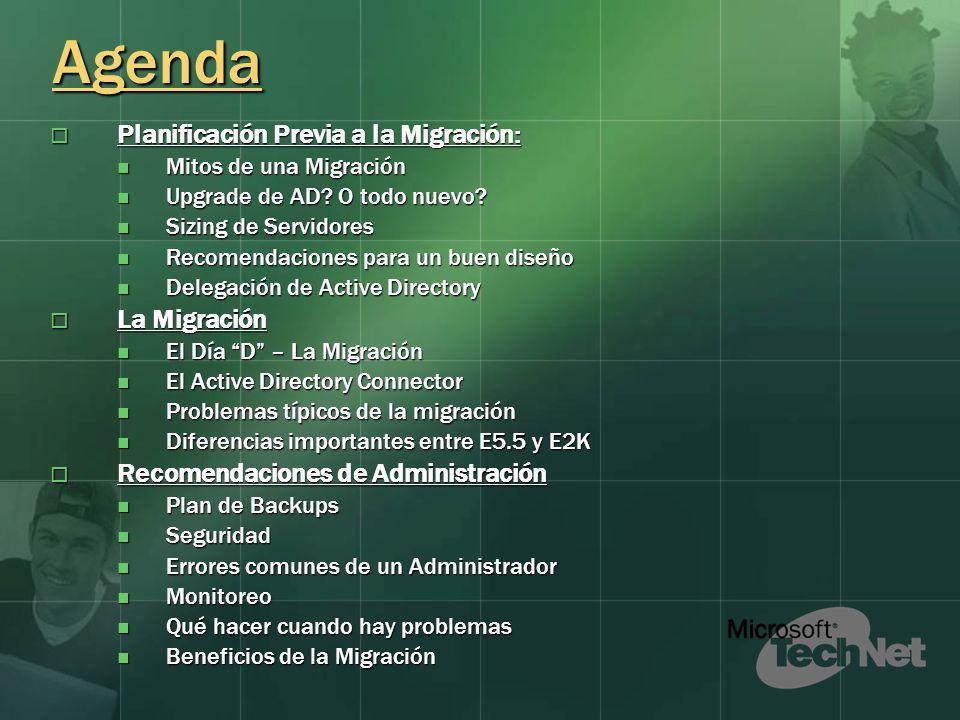 Agenda Planificación Previa a la Migración: Planificación Previa a la Migración: Mitos de una Migración Mitos de una Migración Upgrade de AD.