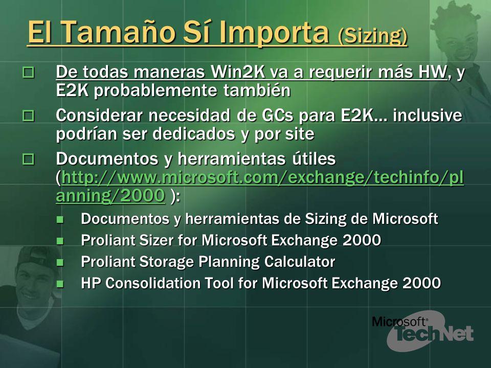 Sizing: Ejemplo BCP BCP 6000 Usuarios 6000 Usuarios Exchange: 4 Servidores (4CPUs, 2 GB RAM c/u) con un Storage Externo de 800 GB Exchange: 4 Servidores (4CPUs, 2 GB RAM c/u) con un Storage Externo de 800 GB 2 Servidores de conectores para Internet y Credicorp 2 Servidores de conectores para Internet y Credicorp DC: Win2K (PDC Emulator) de 4CPUs, 1 GB RAM (dedicado), asume también función de GC DC: Win2K (PDC Emulator) de 4CPUs, 1 GB RAM (dedicado), asume también función de GC 2 Servidores Adicionales dedicados para DC (uno pequeño, otro igual al PDC para ser GC) 2 Servidores Adicionales dedicados para DC (uno pequeño, otro igual al PDC para ser GC) TIM TIM 1500 Usuarios 1500 Usuarios Exchange: 4 Servidores Proliant DL580 con 4CPUs Xeon900, 2GBRAM, 72GB HD, 1 Storage Externo de 144GB Exchange: 4 Servidores Proliant DL580 con 4CPUs Xeon900, 2GBRAM, 72GB HD, 1 Storage Externo de 144GB 1 servidor de conectores para Internet y F/E Server 1 servidor de conectores para Internet y F/E Server DC: 9 Servidores Proliant DL380G2 con 2CPUx PIII 1400Mhz, 1GB RAM, 36GB HD DC: 9 Servidores Proliant DL380G2 con 2CPUx PIII 1400Mhz, 1GB RAM, 36GB HD