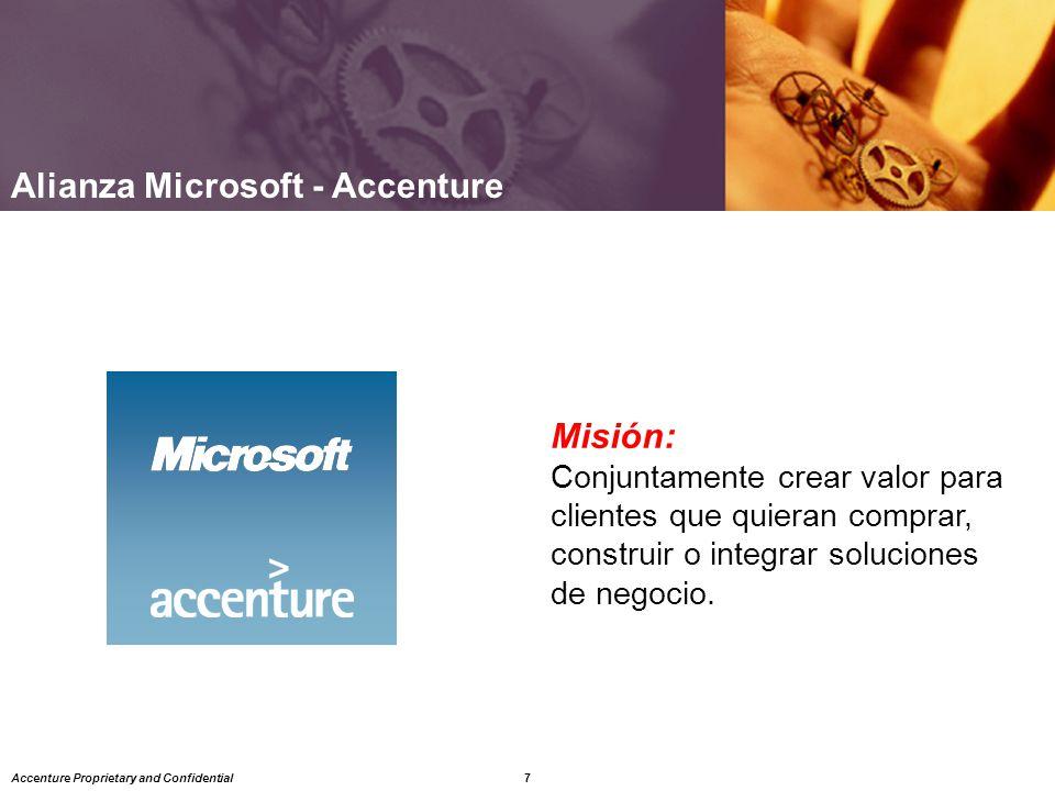 7 Accenture Proprietary and Confidential Misión: Conjuntamente crear valor para clientes que quieran comprar, construir o integrar soluciones de negocio.