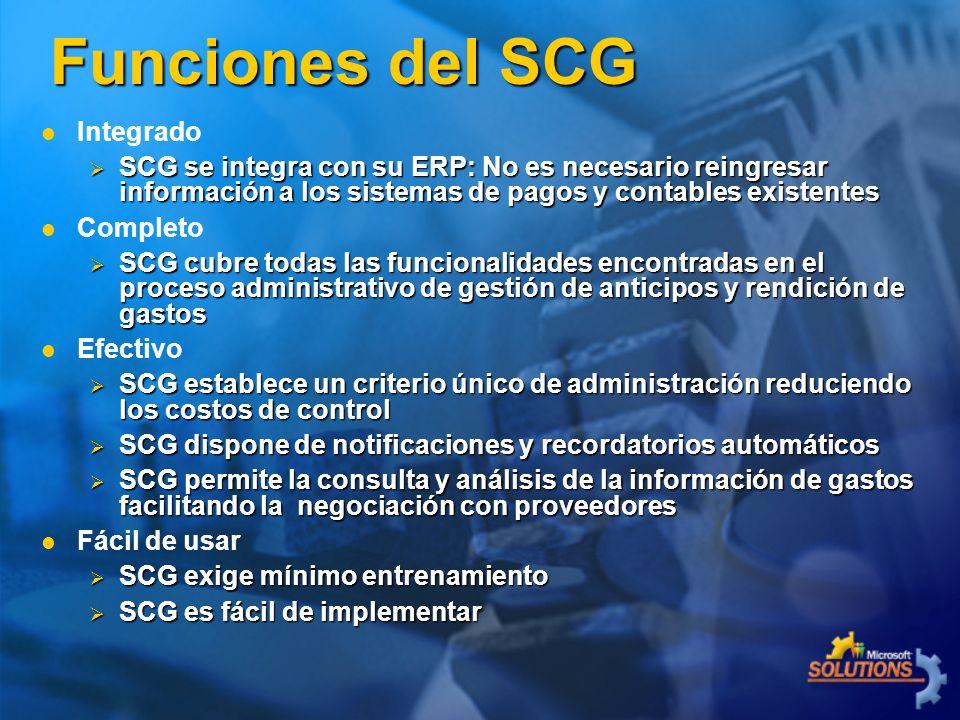 Integrado SCG se integra con su ERP: No es necesario reingresar información a los sistemas de pagos y contables existentes SCG se integra con su ERP: