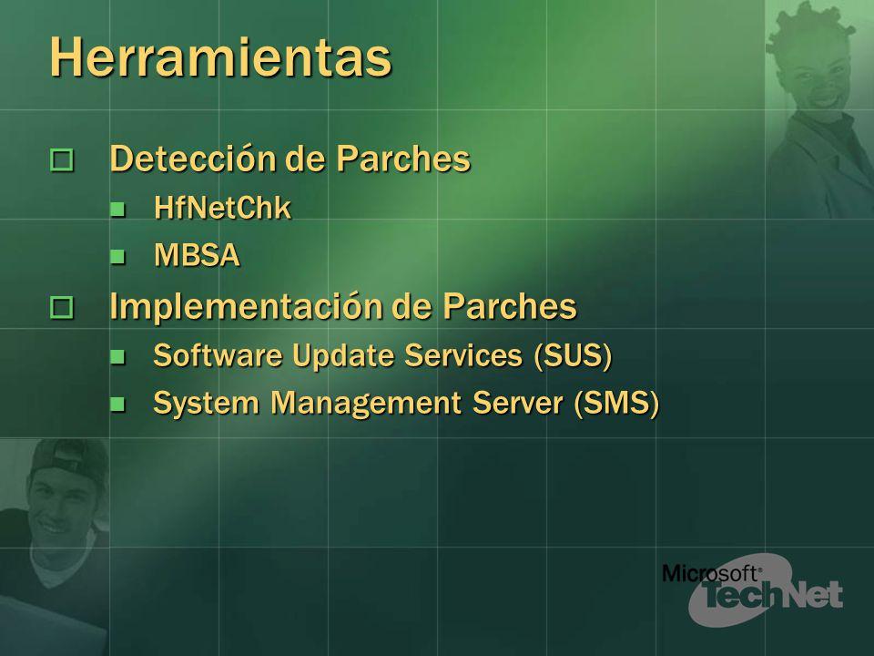 Herramientas Detección de Parches Detección de Parches HfNetChk HfNetChk MBSA MBSA Implementación de Parches Implementación de Parches Software Update Services (SUS) Software Update Services (SUS) System Management Server (SMS) System Management Server (SMS)