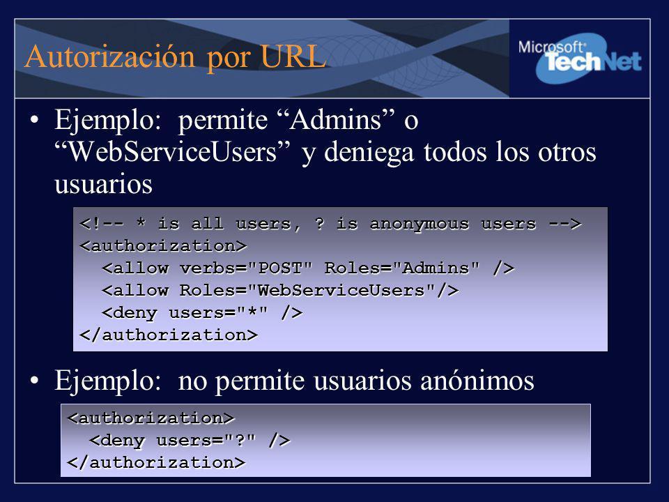 Autorización por URL Ejemplo: permite Admins o WebServiceUsers y deniega todos los otros usuarios Ejemplo: no permite usuarios anónimos <authorization
