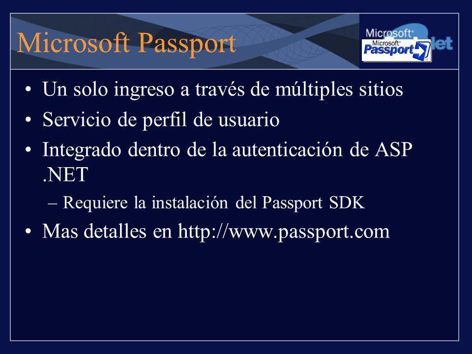 Microsoft Passport Un solo ingreso a través de múltiples sitios Servicio de perfil de usuario Integrado dentro de la autenticación de ASP.NET –Requier