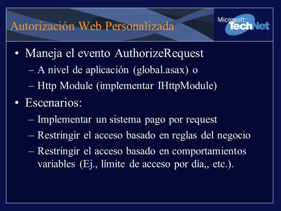 Autorización Web Personalizada Maneja el evento AuthorizeRequest –A nivel de aplicación (global.asax) o –Http Module (implementar IHttpModule) Escenar