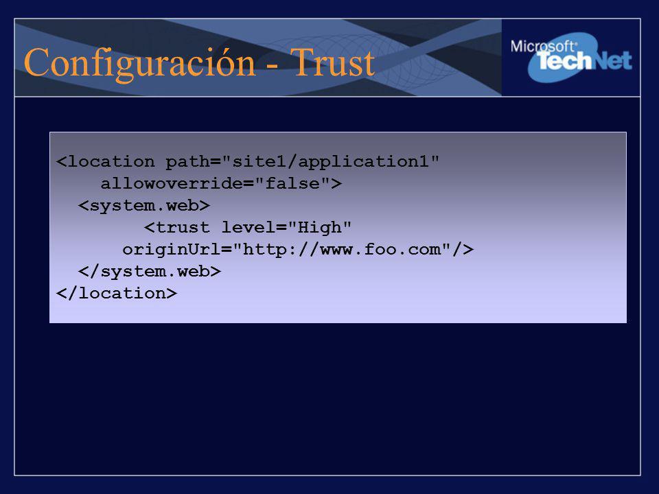 Configuración - Trust <location path=