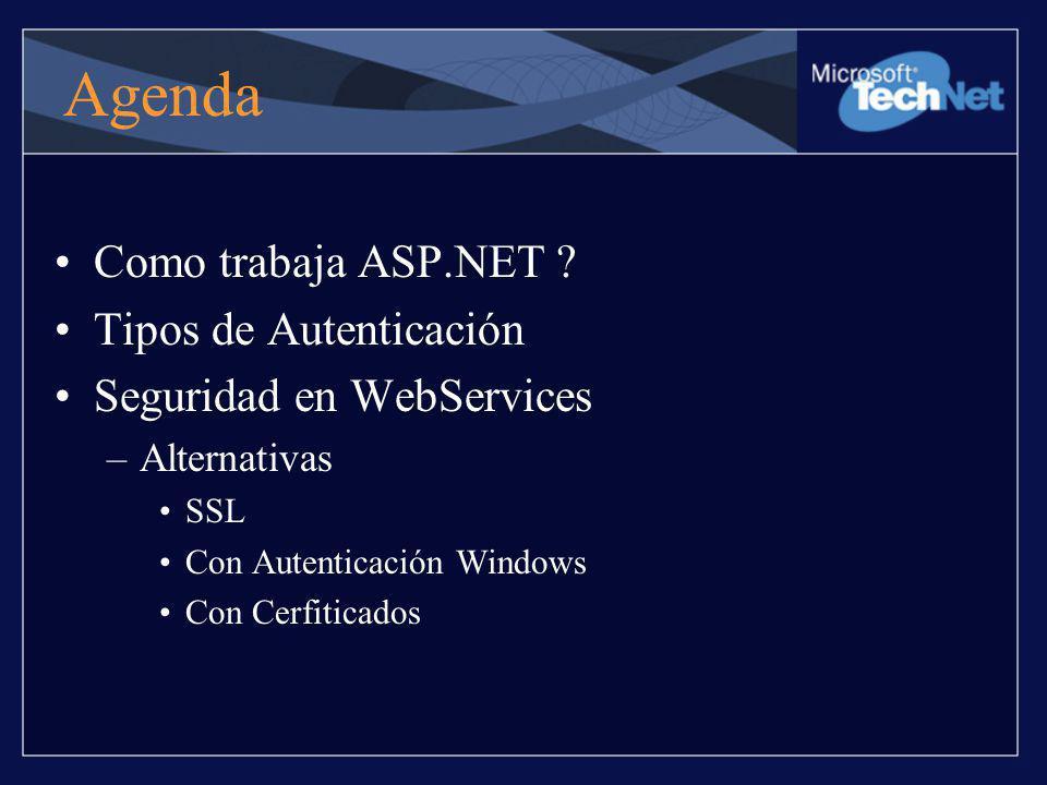 Agenda Como trabaja ASP.NET ? Tipos de Autenticación Seguridad en WebServices –Alternativas SSL Con Autenticación Windows Con Cerfiticados