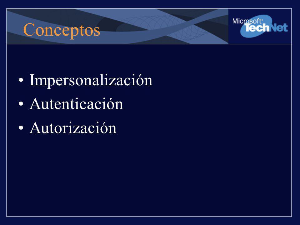 Conceptos Impersonalización Autenticación Autorización
