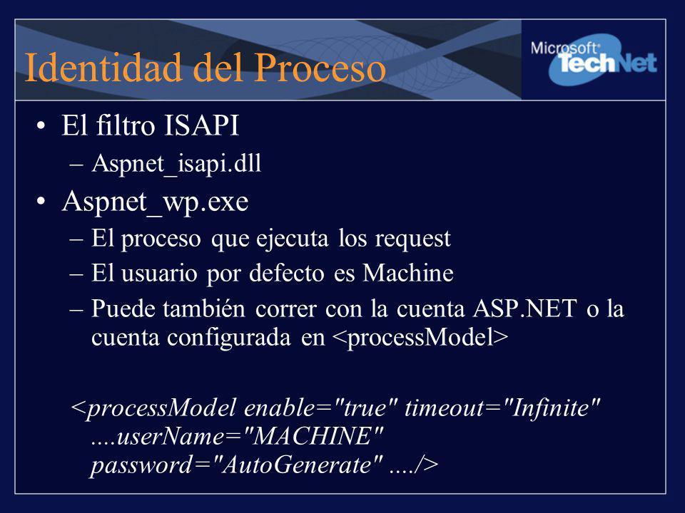 Identidad del Proceso El filtro ISAPI –Aspnet_isapi.dll Aspnet_wp.exe –El proceso que ejecuta los request –El usuario por defecto es Machine –Puede ta
