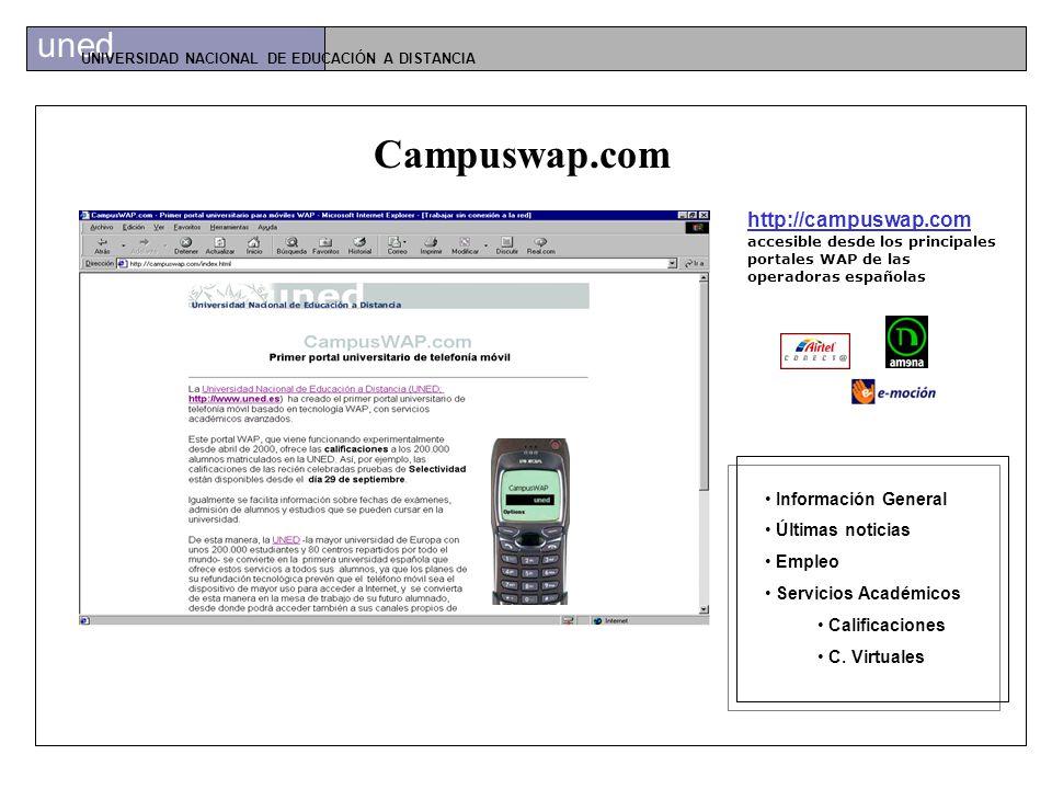 uned UNIVERSIDAD NACIONAL DE EDUCACIÓN A DISTANCIA Servicio Wap Campuswap.com