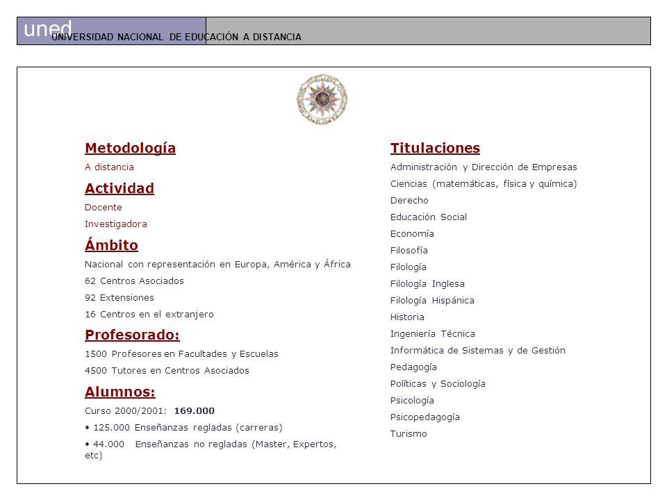 uned UNIVERSIDAD NACIONAL DE EDUCACIÓN A DISTANCIA www.uned.es
