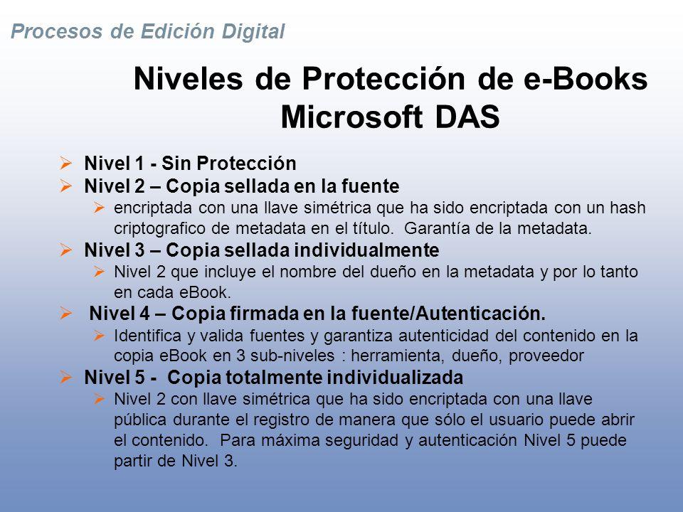 Procesos de Edición Digital Algunos términos importantes de DRM Sellar/ Des-sellar Exponer ó esconder llaves simétricas requeridas para encriptar/decriptar y usar eBooks protegidos.
