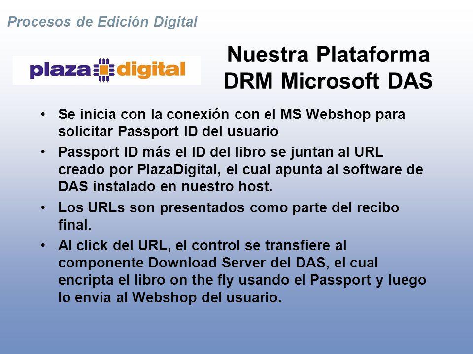 Procesos de Edición Digital Nuestra Plataforma Plataforma transparente que integra simultáneamente múltiples tecnologías de DRM.