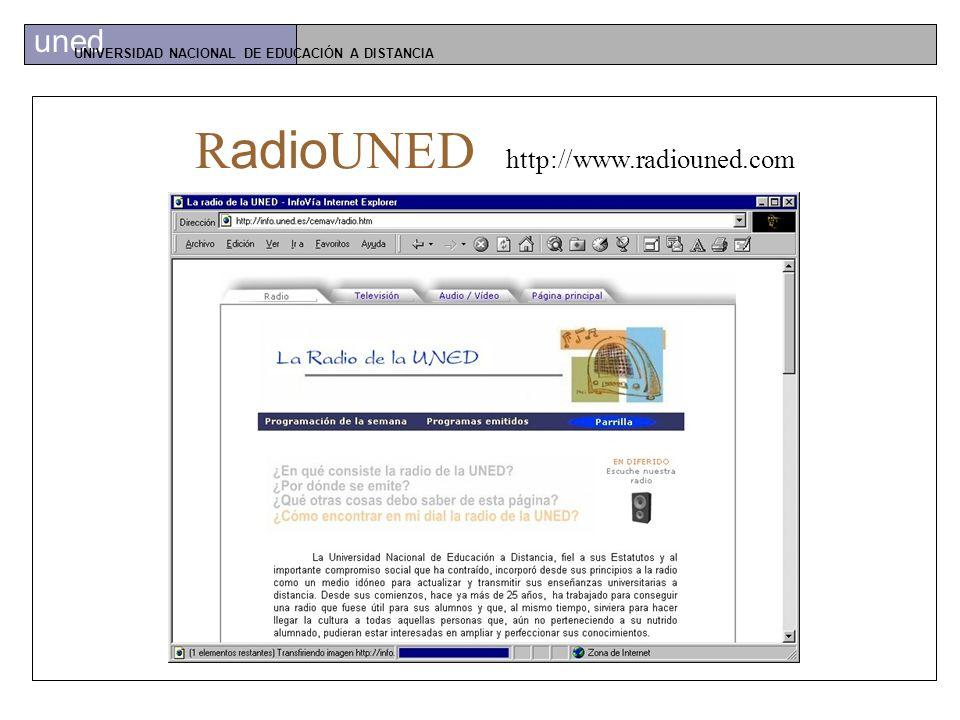 uned UNIVERSIDAD NACIONAL DE EDUCACIÓN A DISTANCIA Canal Educativo de la UNED RadioUNEDTeleUNED
