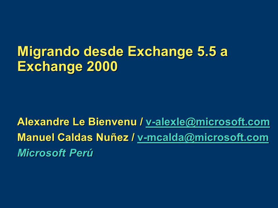 Migrando desde Exchange 5.5 a Exchange 2000 Alexandre Le Bienvenu / v-alexle@microsoft.com v-alexle@microsoft.com Manuel Caldas Nuñez / v-mcalda@micro