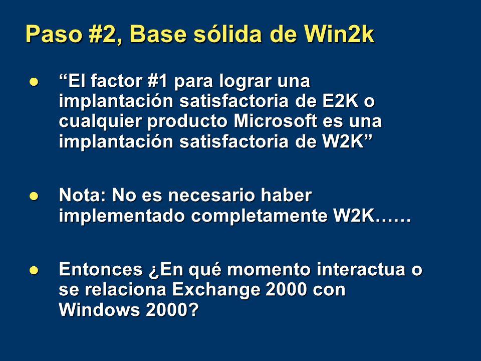Paso #2, Base sólida de Win2k El factor #1 para lograr una implantación satisfactoria de E2K o cualquier producto Microsoft es una implantación satisf