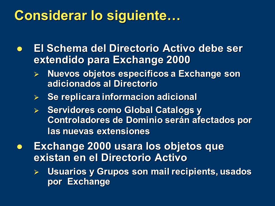 Considerar lo siguiente… El Schema del Directorio Activo debe ser extendido para Exchange 2000 El Schema del Directorio Activo debe ser extendido para