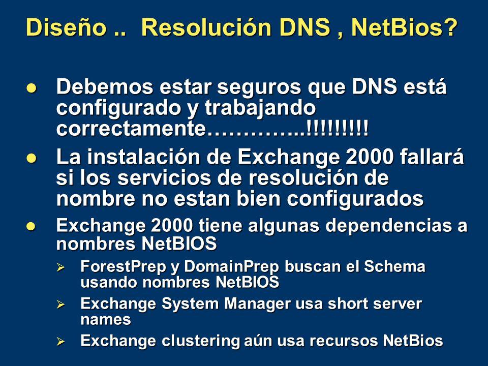 Diseño.. Resolución DNS, NetBios? Debemos estar seguros que DNS está configurado y trabajando correctamente…………..!!!!!!!!! Debemos estar seguros que D