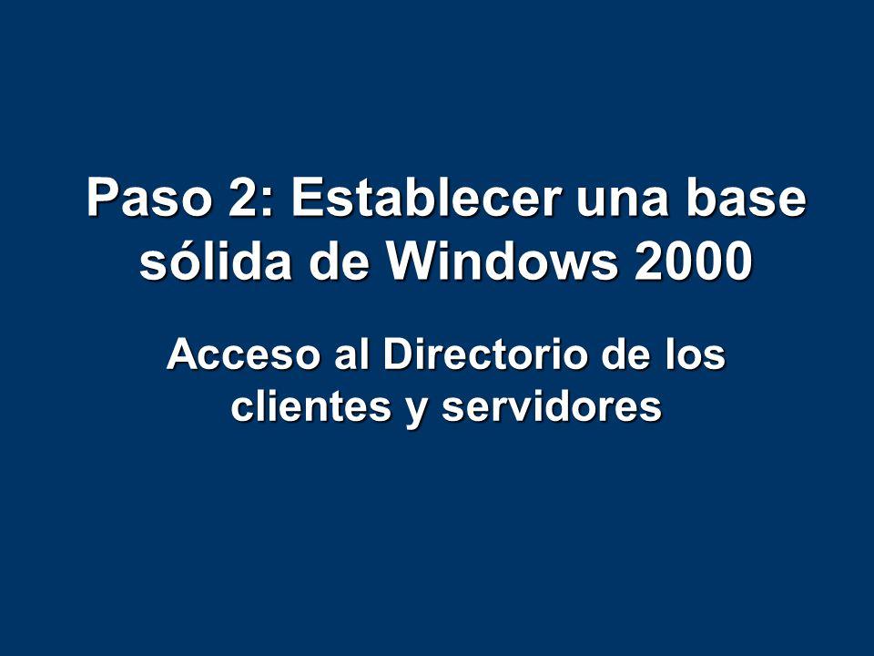 Paso 2: Establecer una base sólida de Windows 2000 Acceso al Directorio de los clientes y servidores