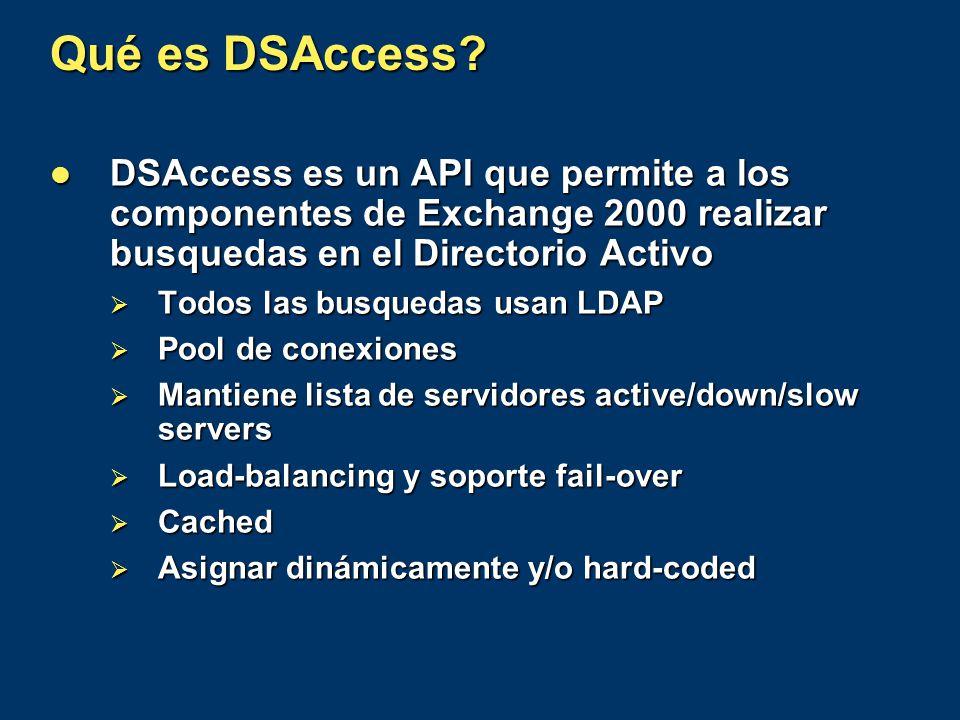 Qué es DSAccess? DSAccess es un API que permite a los componentes de Exchange 2000 realizar busquedas en el Directorio Activo DSAccess es un API que p