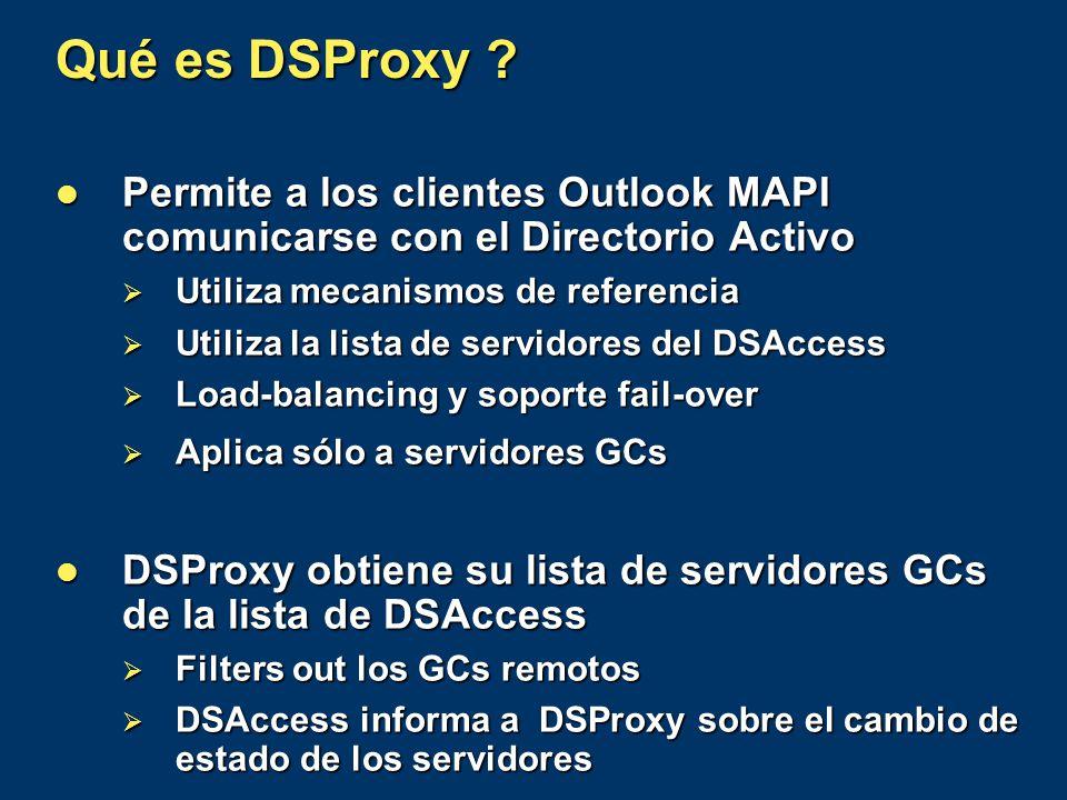 Qué es DSProxy ? Permite a los clientes Outlook MAPI comunicarse con el Directorio Activo Permite a los clientes Outlook MAPI comunicarse con el Direc