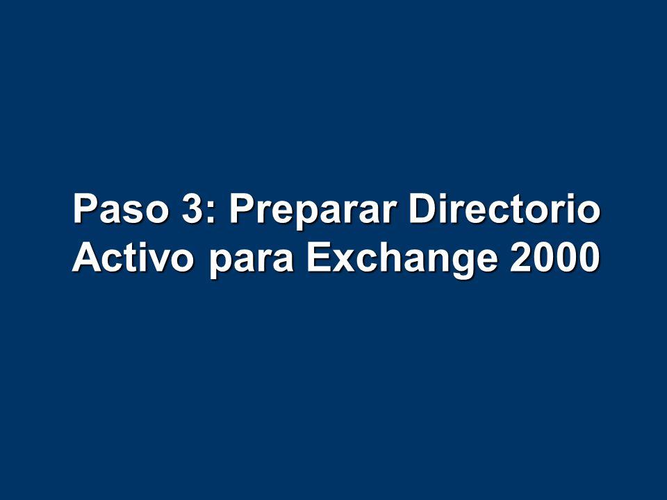 Paso 3: Preparar Directorio Activo para Exchange 2000