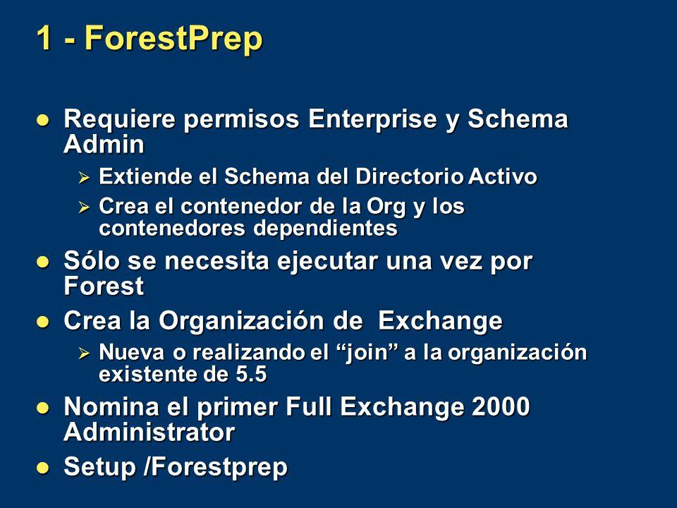 1 - ForestPrep Requiere permisos Enterprise y Schema Admin Requiere permisos Enterprise y Schema Admin Extiende el Schema del Directorio Activo Extien