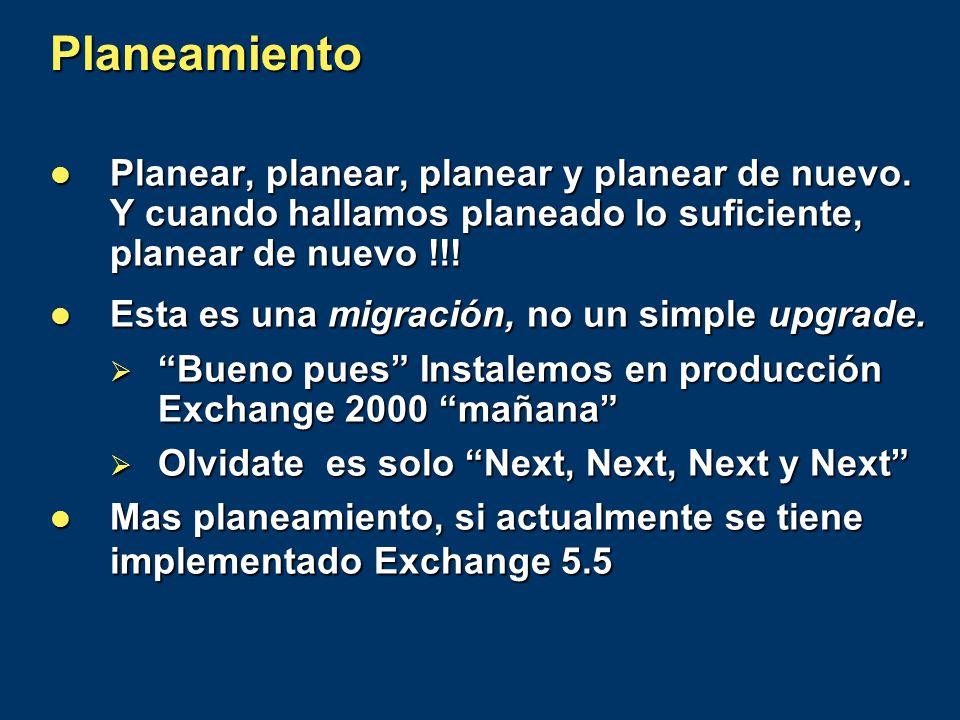 Planeamiento Planear, planear, planear y planear de nuevo. Y cuando hallamos planeado lo suficiente, planear de nuevo !!! Planear, planear, planear y