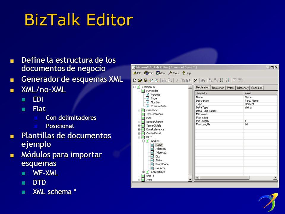 BizTalk Editor Define la estructura de los documentos de negocio Generador de esquemas XML XML/no-XMLEDIFlat Con delimitadores Posicional Plantillas d