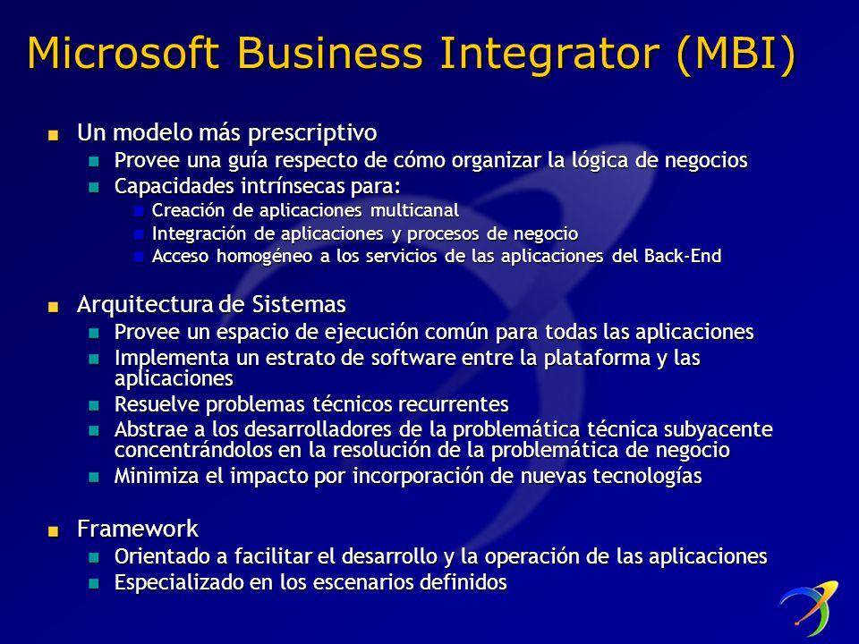 Microsoft Business Integrator (MBI) Un modelo más prescriptivo Provee una guía respecto de cómo organizar la lógica de negocios Capacidades intrínseca