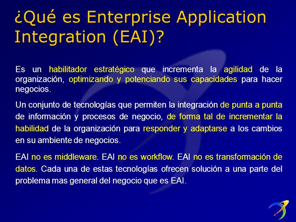 ¿Qué es Enterprise Application Integration (EAI)? Es un habilitador estratégico que incrementa la agilidad de la organización, optimizando y potencian