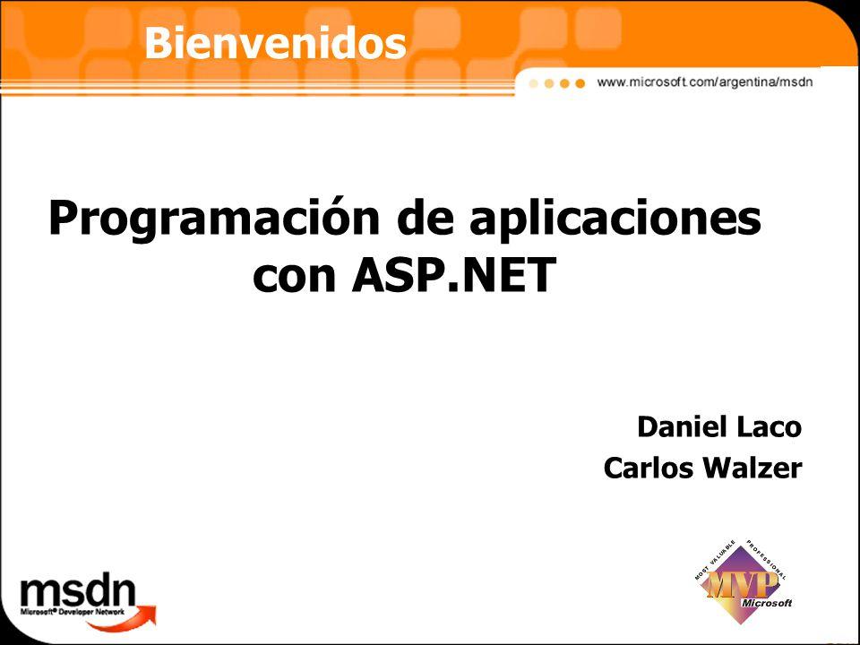 Programación de aplicaciones con ASP.NET Daniel Laco Carlos Walzer Bienvenidos