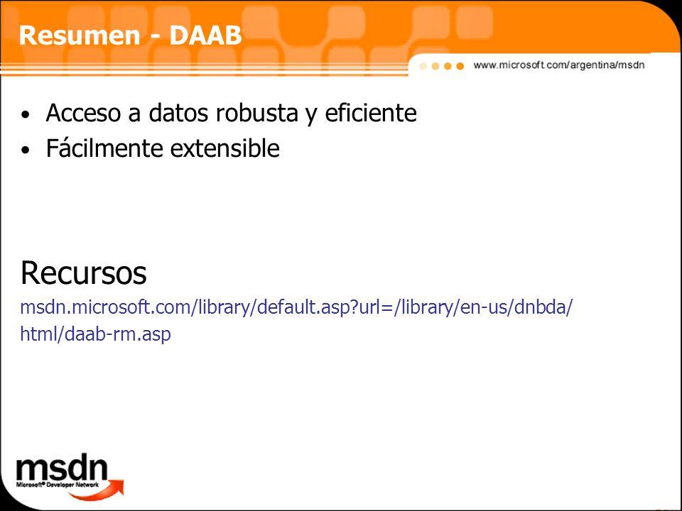 Resumen - DAAB Acceso a datos robusta y eficiente Fácilmente extensible Recursos msdn.microsoft.com/library/default.asp?url=/library/en-us/dnbda/ html/daab-rm.asp
