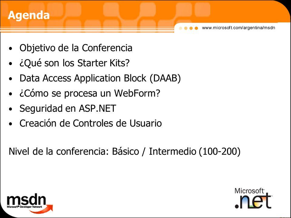 Agenda Objetivo de la Conferencia ¿Qué son los Starter Kits.