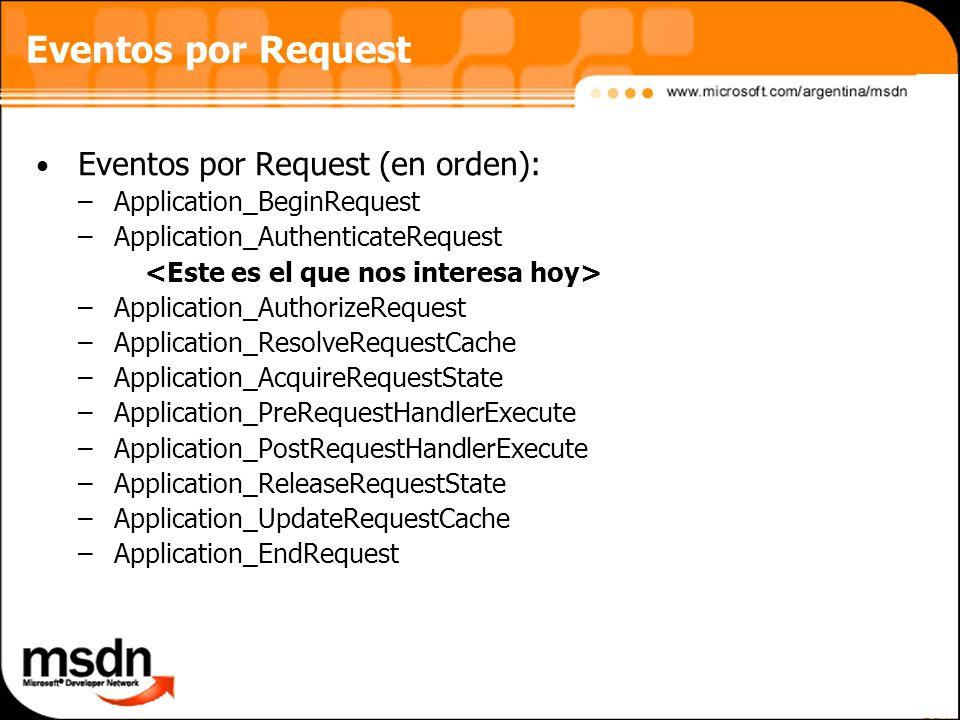 Eventos por Request Eventos por Request (en orden): –Application_BeginRequest –Application_AuthenticateRequest –Application_AuthorizeRequest –Application_ResolveRequestCache –Application_AcquireRequestState –Application_PreRequestHandlerExecute –Application_PostRequestHandlerExecute –Application_ReleaseRequestState –Application_UpdateRequestCache –Application_EndRequest