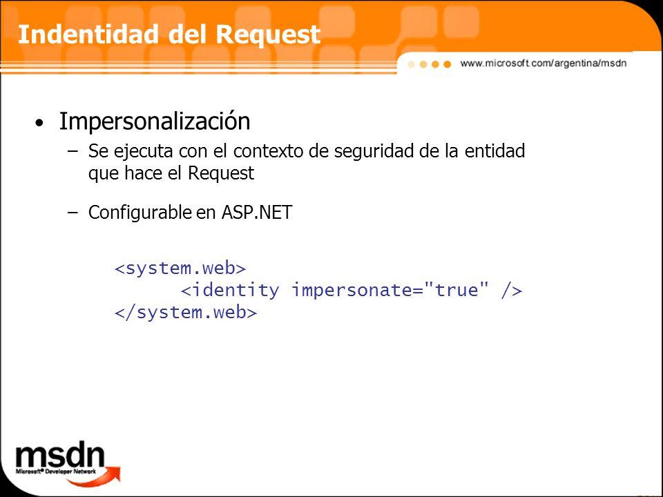 Indentidad del Request Impersonalización –Se ejecuta con el contexto de seguridad de la entidad que hace el Request –Configurable en ASP.NET