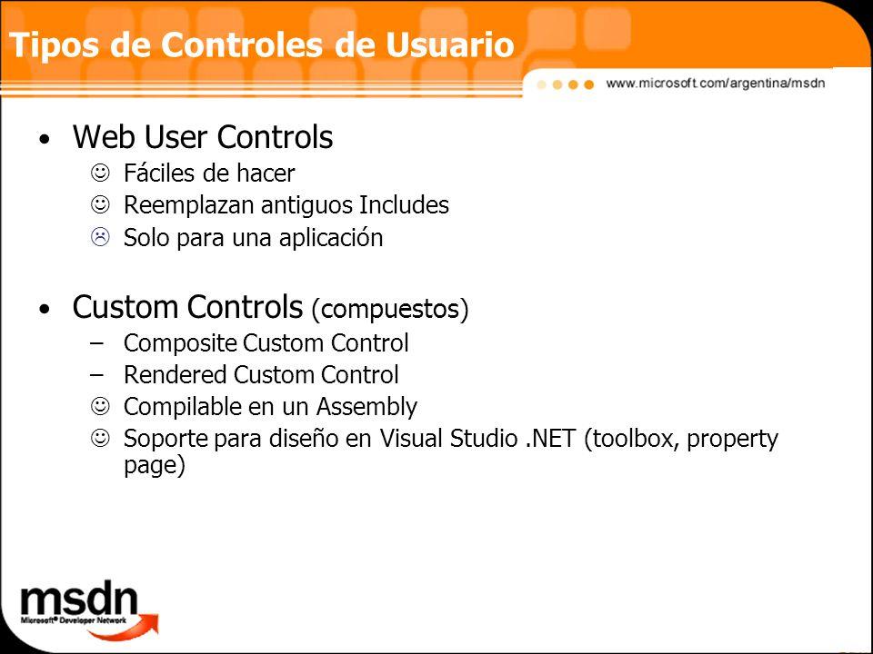 Web User Controls Fáciles de hacer Reemplazan antiguos Includes Solo para una aplicación Custom Controls (compuestos) –Composite Custom Control –Rendered Custom Control Compilable en un Assembly Soporte para diseño en Visual Studio.NET (toolbox, property page) Tipos de Controles de Usuario