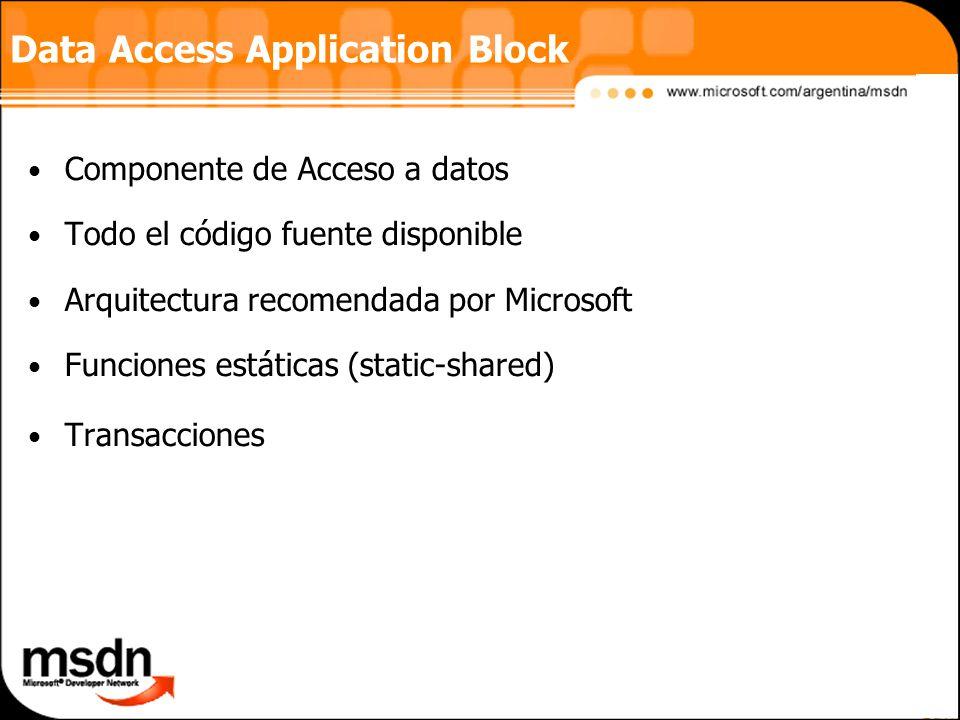Data Access Application Block Componente de Acceso a datos Todo el código fuente disponible Arquitectura recomendada por Microsoft Funciones estáticas (static-shared) Transacciones