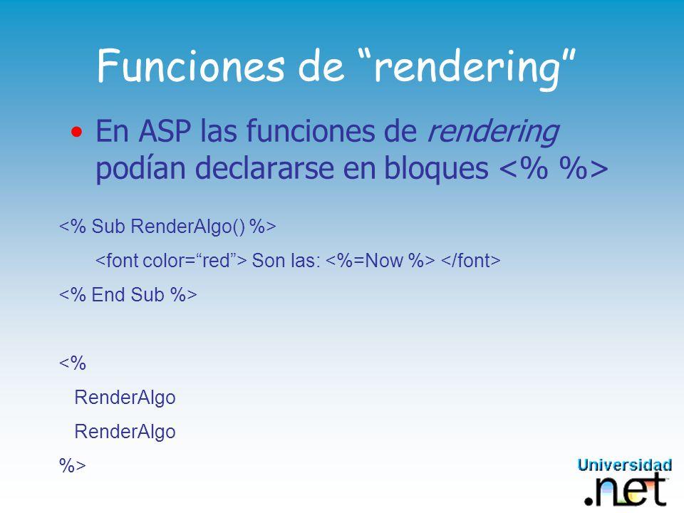 Funciones de rendering En ASP las funciones de rendering podían declararse en bloques Son las: <% RenderAlgo %>