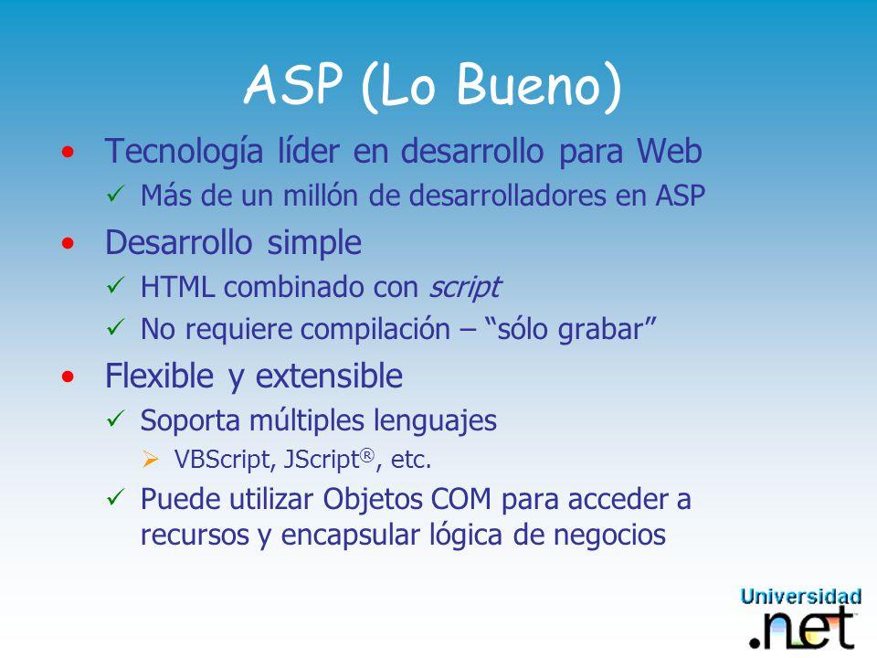 ASP (Lo Bueno) Tecnología líder en desarrollo para Web Más de un millón de desarrolladores en ASP Desarrollo simple HTML combinado con script No requiere compilación – sólo grabar Flexible y extensible Soporta múltiples lenguajes VBScript, JScript ®, etc.