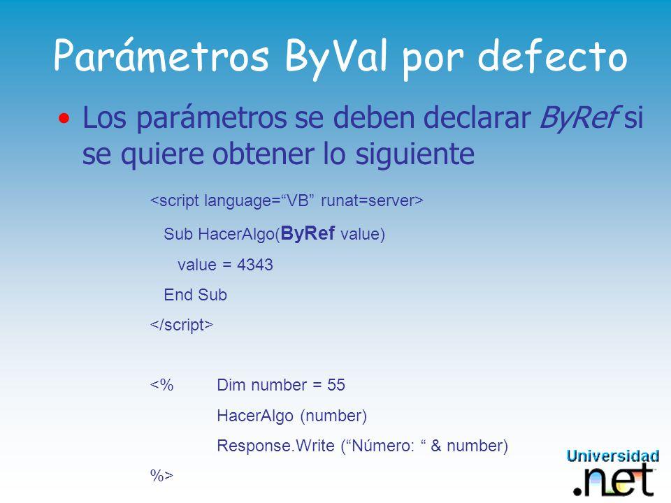 Parámetros ByVal por defecto Los parámetros se deben declarar ByRef si se quiere obtener lo siguiente Sub HacerAlgo( ByRef value) value = 4343 End Sub <% Dim number = 55 HacerAlgo (number) Response.Write (Número: & number) %>