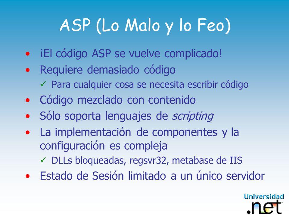 ASP (Lo Malo y lo Feo) ¡El código ASP se vuelve complicado.