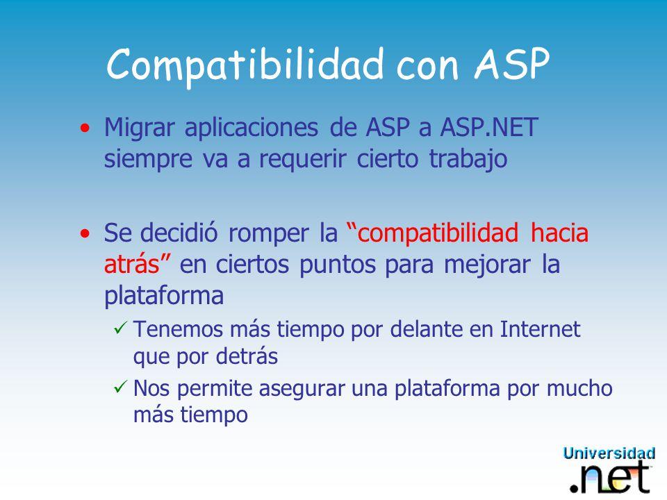 Compatibilidad con ASP Migrar aplicaciones de ASP a ASP.NET siempre va a requerir cierto trabajo Se decidió romper la compatibilidad hacia atrás en ciertos puntos para mejorar la plataforma Tenemos más tiempo por delante en Internet que por detrás Nos permite asegurar una plataforma por mucho más tiempo