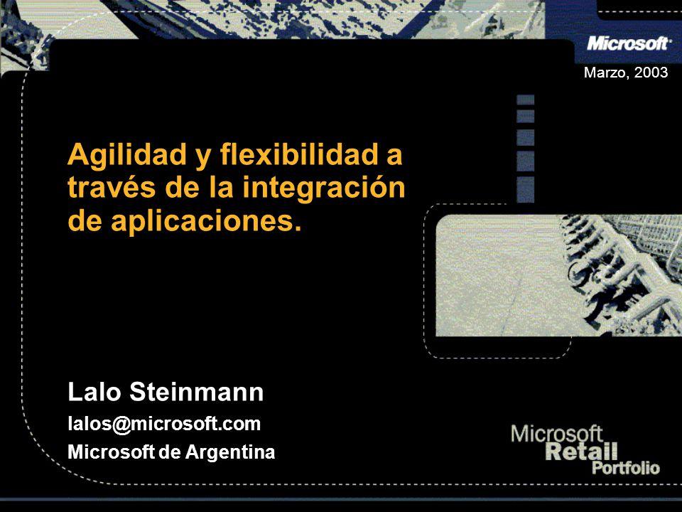 Marzo, 2003 Agilidad y flexibilidad a través de la integración de aplicaciones. Lalo Steinmann lalos@microsoft.com Microsoft de Argentina