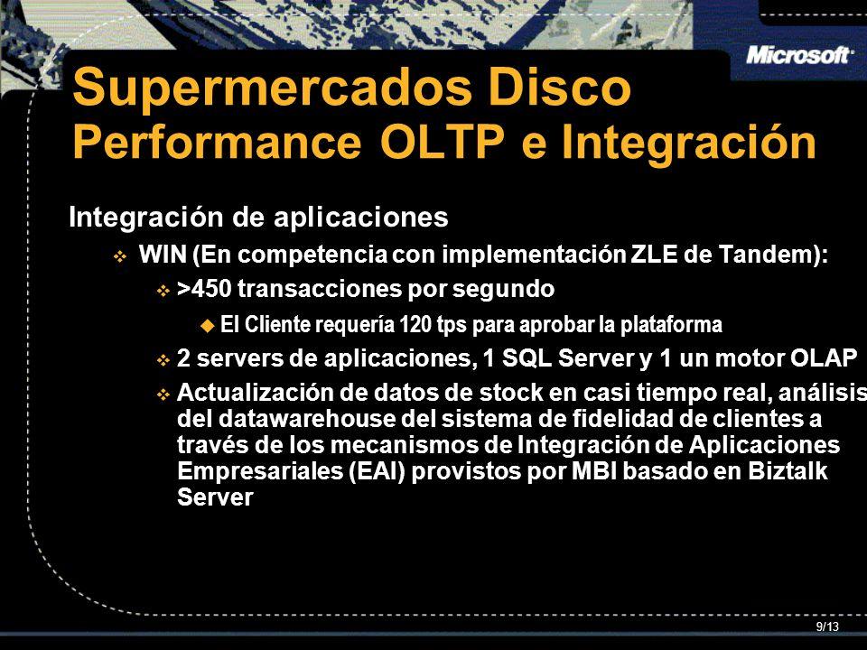 Supermercados Disco Performance OLTP e Integración Integración de aplicaciones WIN (En competencia con implementación ZLE de Tandem): WIN (En competencia con implementación ZLE de Tandem): >450 transacciones por segundo >450 transacciones por segundo El Cliente requería 120 tps para aprobar la plataforma El Cliente requería 120 tps para aprobar la plataforma 2 servers de aplicaciones, 1 SQL Server y 1 un motor OLAP 2 servers de aplicaciones, 1 SQL Server y 1 un motor OLAP Actualización de datos de stock en casi tiempo real, análisis del datawarehouse del sistema de fidelidad de clientes a través de los mecanismos de Integración de Aplicaciones Empresariales (EAI) provistos por MBI basado en Biztalk Server Actualización de datos de stock en casi tiempo real, análisis del datawarehouse del sistema de fidelidad de clientes a través de los mecanismos de Integración de Aplicaciones Empresariales (EAI) provistos por MBI basado en Biztalk Server 9/13