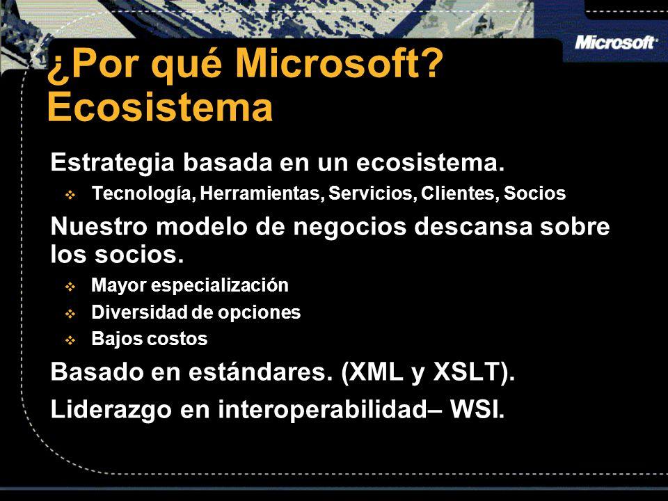 ¿Por qué Microsoft? Ecosistema Estrategia basada en un ecosistema. Tecnología, Herramientas, Servicios, Clientes, Socios Tecnología, Herramientas, Ser