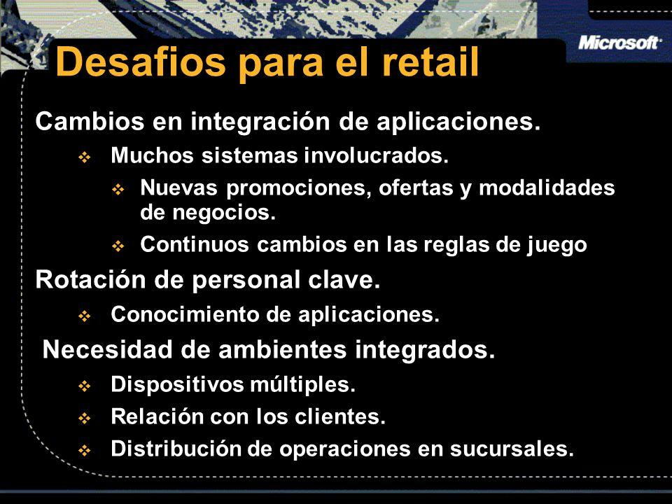 Desafios para el retail Cambios en integración de aplicaciones. Muchos sistemas involucrados. Muchos sistemas involucrados. Nuevas promociones, oferta