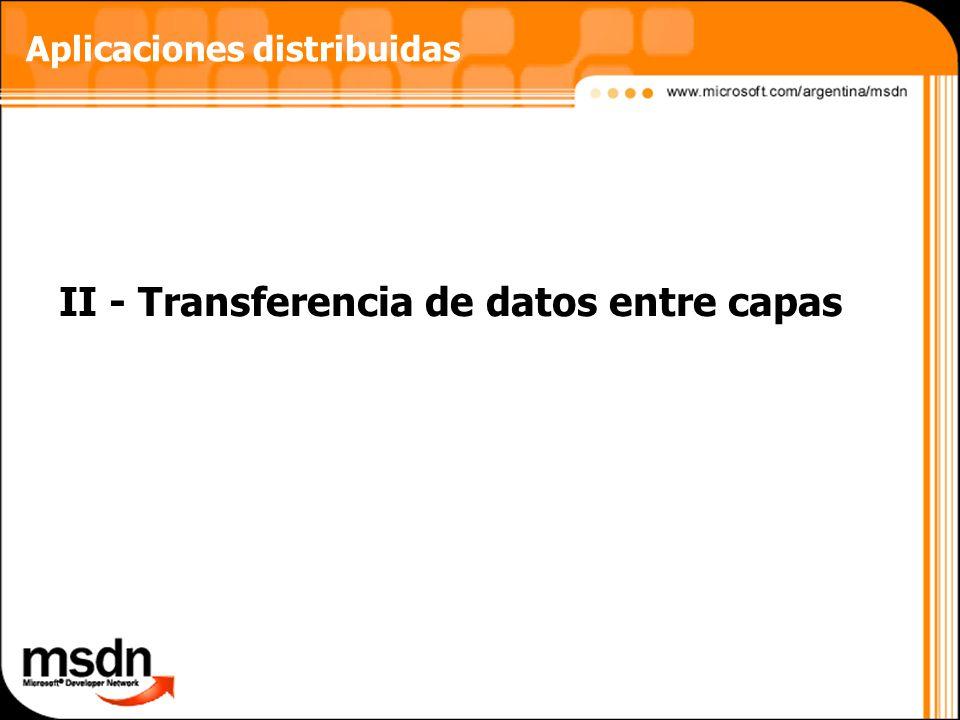 II - Transferencia de datos entre capas Aplicaciones distribuidas